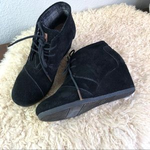 TOMs black dessert wedge black suede ankle booties